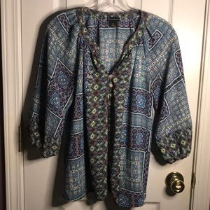 New Directions Multi Color Pattern Print Blouse S
